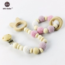 Let's Make Baby Teething Pendant Bracelet Montessori Toys Set Dummy Pacifier Clips 2pc Organic Wood Rabbit Teether Shower Gift(China)