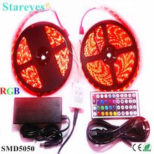 1 set SMD 5050 60 LED/M 10 Meters RGB LED Strip tape Flashlight lighting IP65 Waterproof strip+44 key Remote+6A Power Adapter