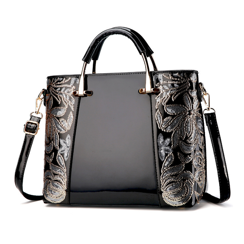Homeda PU Handbag Sequined Embroidered Flowers Patchwork Shoulder Bag Solid Woman Modern Bolsos Bandolera Mujer Q-71<br>