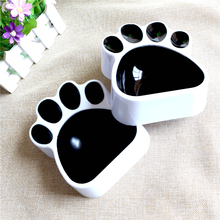 DoreenBeads 1PC Pet Bowl Creative Paw Footprint Food Water Bowl for Cats Dogs Black Plastic Universal Pet Feeders 16x13.5x4.5cm(China)