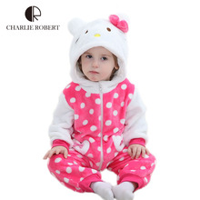 Hello Kitty Baby Clothing Bodysuit Newborn Baby Girls Costumes Kawaii Spring Autumn Bodysuit Flannel Infantil Clothes HK1043