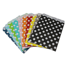 DHL 1200pcs 17x13cm Paper Pocket Bag Food Snack Packaging Dots Pattern Greaseproof Fried Chips Hamburger Pack Party Multi Colors(China)