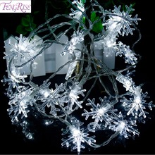 Buy FENGRISE 20 LED Snowflake String Lamp Holiday Lighting Fairy Strings Romantic Wedding Decor Birthday Christmas Party Supplies for $4.57 in AliExpress store