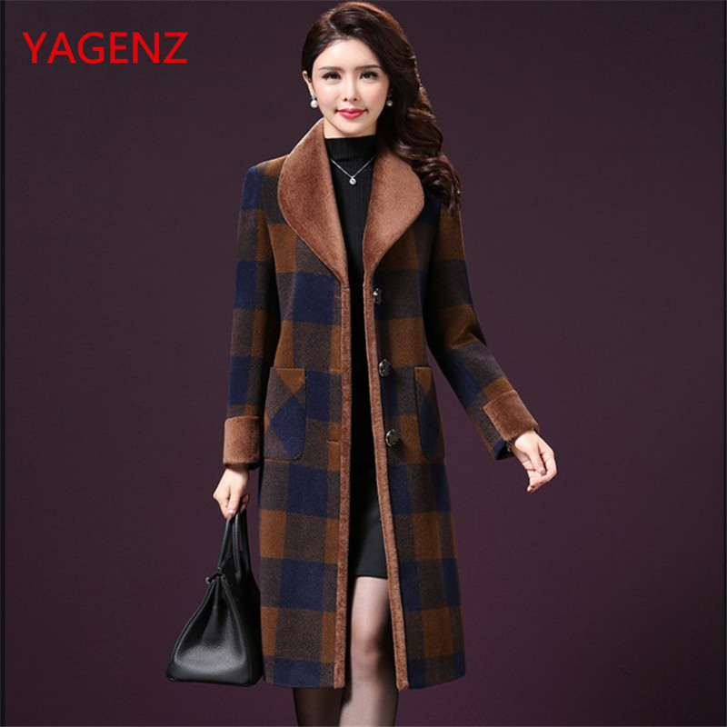 NEW Wool coat female high quality Women clothing 2018 winter Long coats women's winter Grid plus size coat Korean clothing K3318