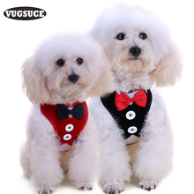 VUGSUCE Vest Pet Dog Harness Leash Set for Small Medium Dogs Bow tie Formal Dress Plaid Navy Puppy Harness Chest Strap Outdoor(China)