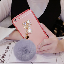 For Huawei p8 p9 lite plus mate 7 8 9 s honor 6 7i V8 Luxury Cute plating Phone case Plush Pearl Clover Fur Ball Soft Back Cover