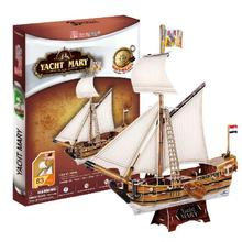 T0457 3D Puzzles Maria Yacht DIY Paper Model kids Creative gift Children Educational toys hot sale(China)