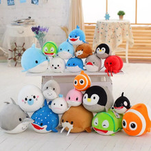 20CM Baby Sea Animal Toy Lovely Penguin Dolphin Whale Polar Bear Toys Soft Foam Particles Doll Plush Pillow For Kids 15 Style