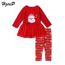 HziriP 2017 New Kids Girls Clothing Sets Long-sleeved Mesh Striped Trousers Cute Christmas 2-Piece Suit for Children Girl Wear(China)