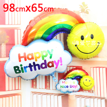 2pcs Foil Balloons Happy Birthday party Wedding Decoration Large size Smile Face Rainbow Globos balls Have A Nice Day kids toys