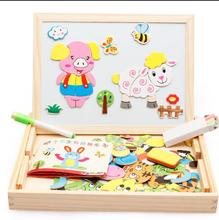 Kids Multifunctional Educational Twelve Zodiac Wooden Magnetic Puzzle Toys for Children Kids Jigsaw Baby's Drawing Easel Board