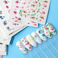 15pcs Mixed Sticker Nails Summer Slider Set Flamingo Owl Flower Animal Designs Water Manicure Tips Nail Decals