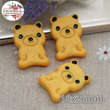 10PCS Bear biscuits cookies Dessert Resin Flat back Cabochon Miniature food Art Supply Decoration Charm(China)