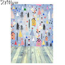 KiWarm Colorful Cartoon Fabric Painting Wood Photo Backdrops Studio Photo Photography Background Home Christmas Decor 210X150cm