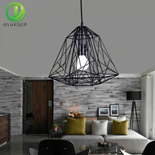 Loft Pendant Lamp Black Iron Diamond Cage Shape Light E27 Edison Bulb Industrial Home Decor Lighting for Living Room Coffee Bar(China)
