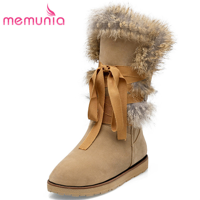 MEMUNIA 2017 Winter shoes woman new arrive snow boots for women flock lace-up solid ankle boots round toe big size 34-43<br>