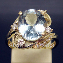 SOLID 14K YELLOW GOLD 3.06CT  NATURAL AQUAMARINE . ENGAGEMENT RING