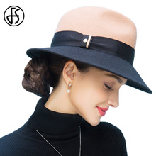 FS Winter 100% Wool Felt Fedora Hats Black And Camel Patchwork Wide Brim For Women Fall Hat Vintage Panama Felt Jazz Caps
