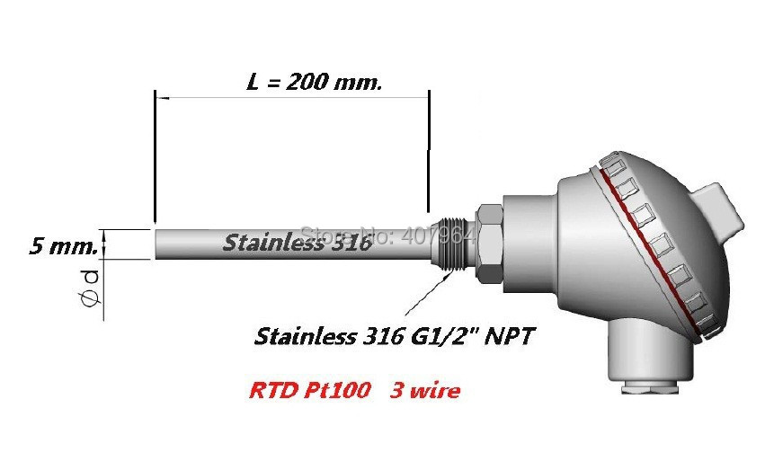 pt100 thermal resistance G1/2 Thread *200mm with 4-20mA Output<br>