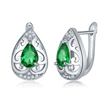 ZuanLiFang Fashion Jewellery Huggie Earrings for Women Green AAA Cubic Zircon Hoop Earrings Heart Design Wedding Brinco Bijoux