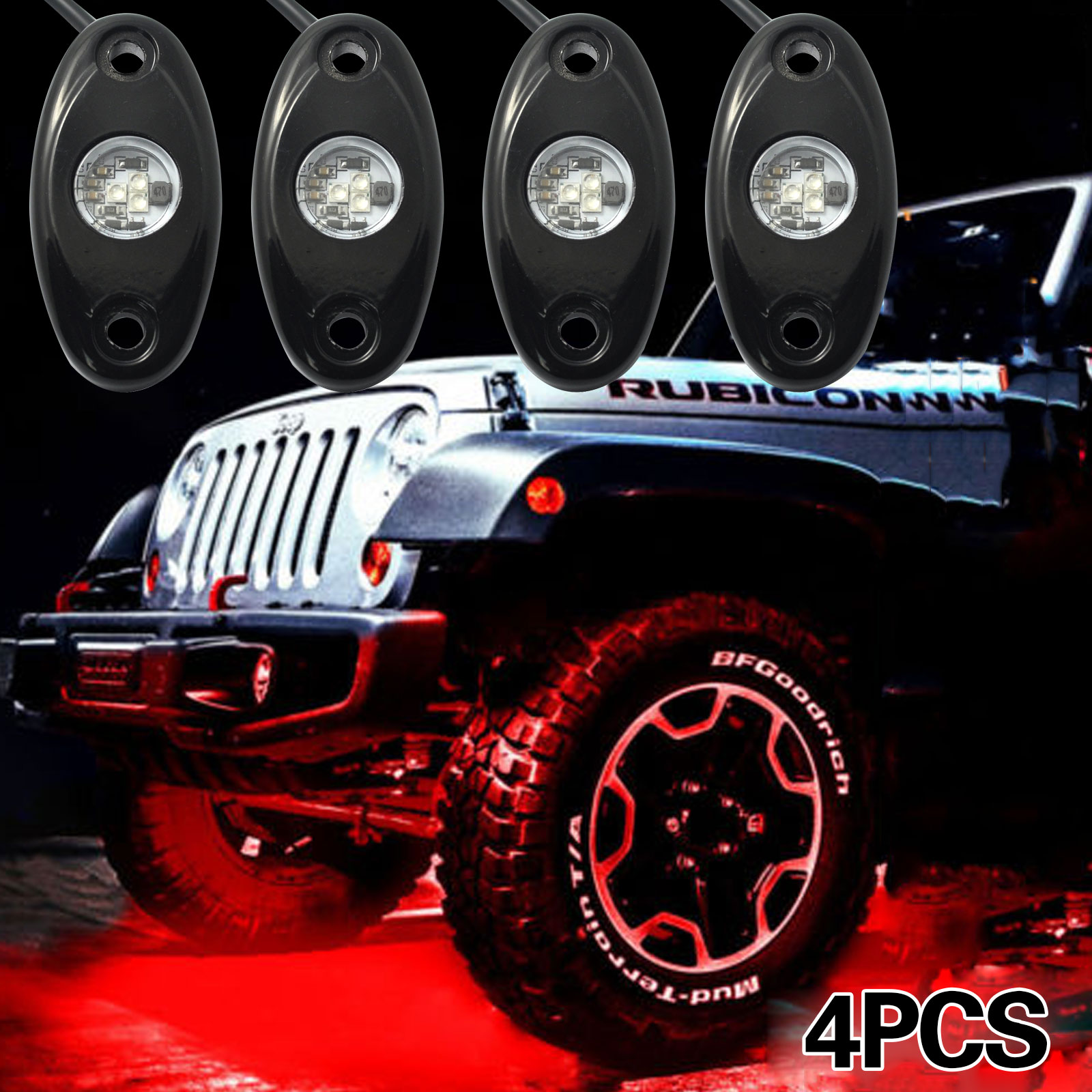 4pcs Car OFF Road Ultra Bright Red Car LED Under Body Glow Rock Light for JEEP ATV SUV Truck<br>