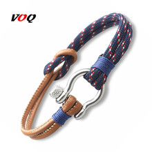 2017 Navy Style Sport Camping Parachute Cord Survival Bracelet Men Stainless Steel Shackle Buckle Jewelry pulseira masculina(China)
