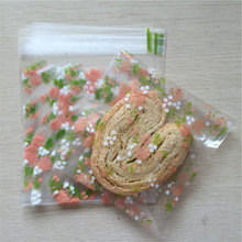 25 pcs/lot 7 X 7 +3 cm Rose flower adhesive bag cookies diy Gift Bags for Christmas Wedding Party Candy Food Packaging bags