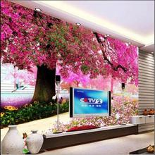 3d photo wallpaper custom mural living room spring flower big tree painting sofa TV background non-woven wallpaper for walls 3d