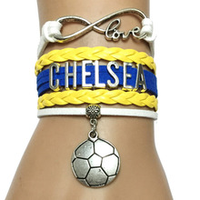 Drop Shipping Infinity Love Chelsea Bracelet-Custom England Sports Soccer Team London City Cheering Leather Wrap Friendship Gift