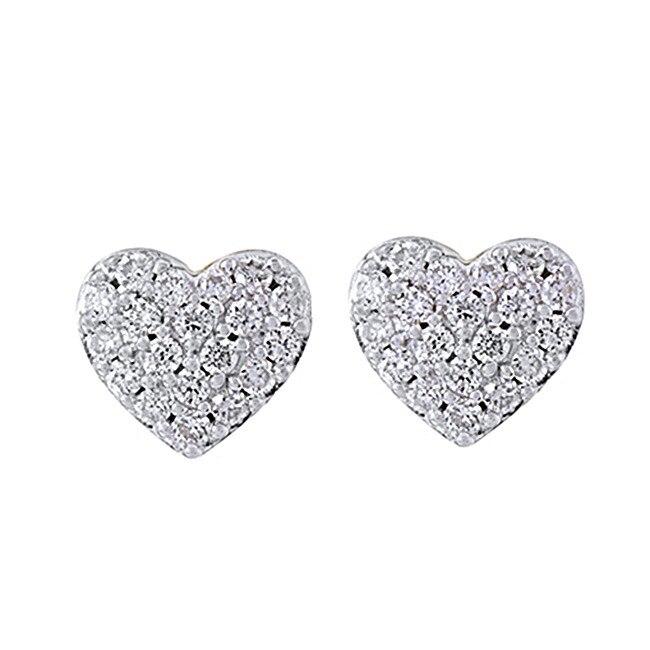 1/5 Ct Round Cut Diamond Sterling Silver Mini Heart Stud Earrings