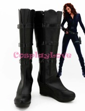 Newest Custom Made American Movie Iron Man 2 Black Widow Natasha Romanoff Cosplay Shoes Long Boots For Halloween Christmas(China)