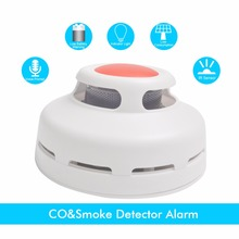 CO&Smoke Detect 2 in 1 function Standalone Carbon Monoxide Detector CO Gas Leak Tester Smoke Detector With Voice Fire Alarm(China)