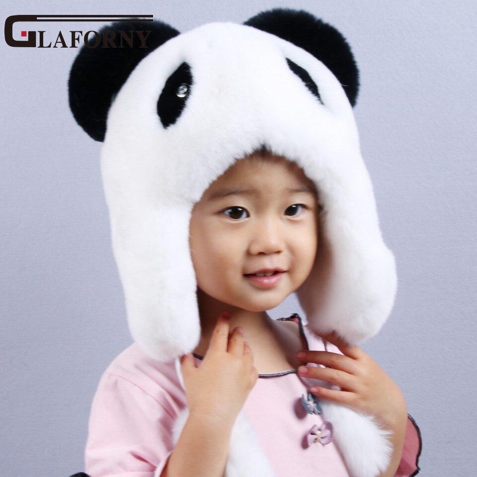 Glaforny 2017 New Brand  Panda Design Fur Hat Children Rex Rabbit Fur Cap Cute Hats Good Quality Real Rabbit Fur Bomber Hats<br>