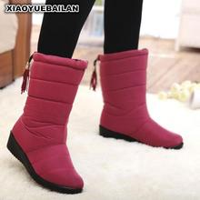 New Winter Lady Fringed Suede Snow Boots, Medium Cylinder Slope And Warm Women Waterproof Antiskid Women's Boots(China)