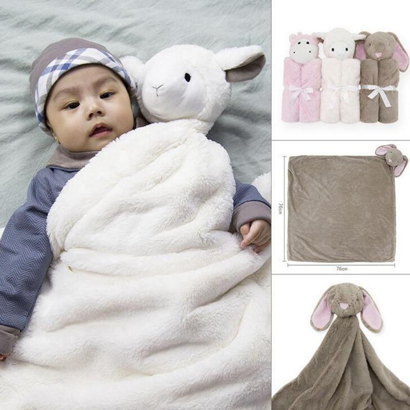 New Baby Blankets 76x76cm Baby Winter Boy Girl Sleeping Bag Birthday Gift Newborn Soft Warm Coral Fleece Plush Animal Toy Head<br><br>Aliexpress