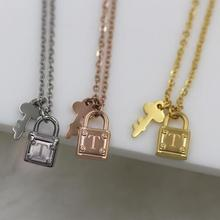 Rose gold color lock key necklaces pendants colares 2017, fashion titanium steel statement necklace women bijuterias colar