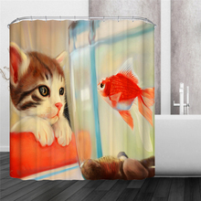 4 Types Holiday Puppy Cat Goldfish Cat Dog  Waterproof Mildewproof Polyester Shower Curtain  Bath Decorations with 12pcs Hooks
