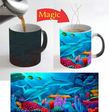 finding nemo mugs Dolphins Fish mugs coffee mug Heat Sensitive transforming cup cold hot heat changing color magic mug tea cups