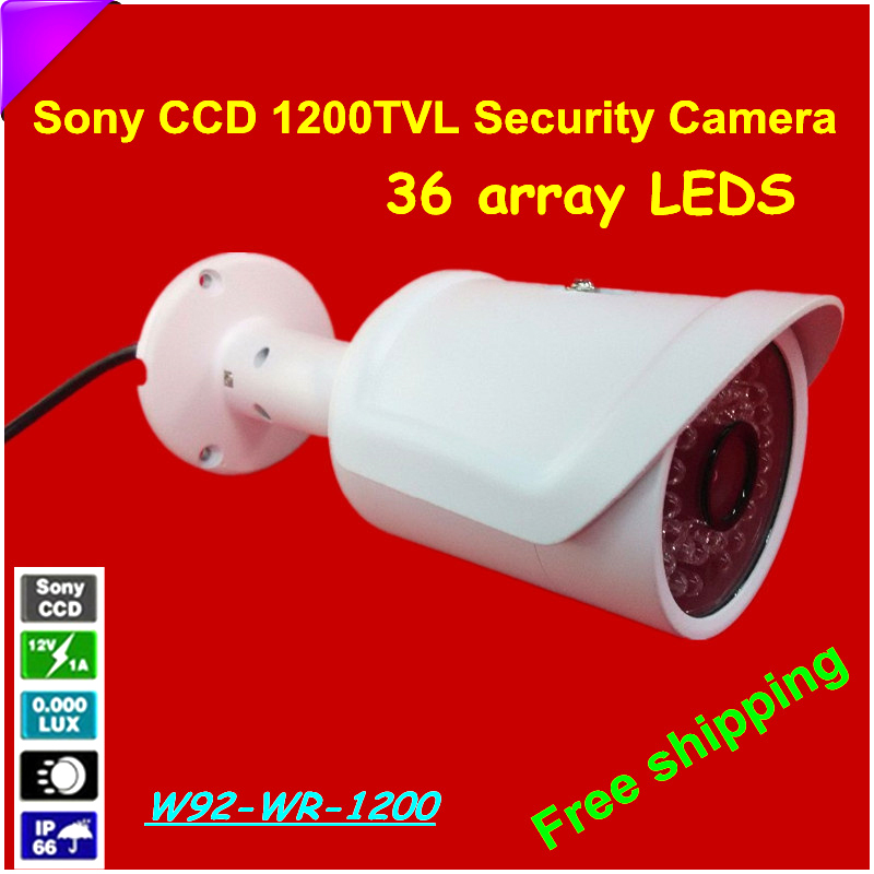 Crazy selling!HD 1/3  Sony CCD Security Camera 1200TVL Surveillance Waterproof IR Camera with 36 array LEDS Free shipping<br>