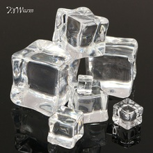 1pc Micro Clear Square Fake Scatters Artificial Ice Cubes Crystal Wedding Display Acrylic Craft Cute Miniatures Home Decoration(China)