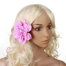 FS Hot Rhinestone Peony Flower Hair Clip for Lady - Pink