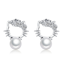 Super Flash Crystal Stud Earrings Imitation Pearl Earrings Silver Plated Hello Kitty jewelry For Women Christmas Gift B012