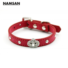 Namsan Blue/Rose/Red/Black Leather Pet Dog Cat Collar Diamond Pets Puppy Collar Dog Accessories Crown Small Animal Grooming(China)