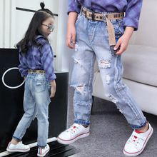 2017 New Spring&Autumn Girls Light Color Jeans Kids Girls Cool Broken Holes Denim Jeans Girls Elastic Waist Pants Age 5-14Yrs