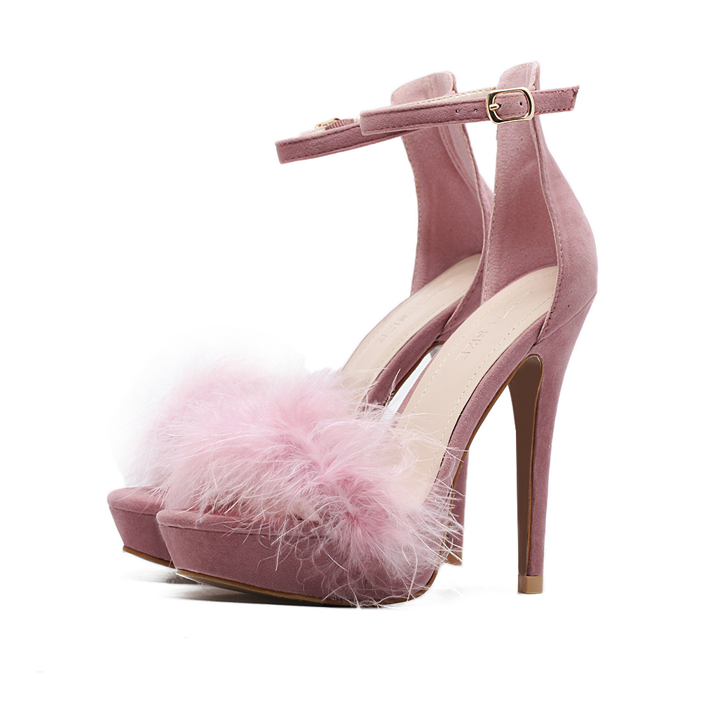 pre spring summer Sandalia Feminina sandals super high heels genuine real natural turkey fur shoes party platform stiletto pumps<br><br>Aliexpress