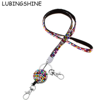 LUBINGSHINE Multi-function Mobile Phone Rope Straps Rhinestone Neck Lanyard For Key / Work ID Card Detachable Velvet Chain
