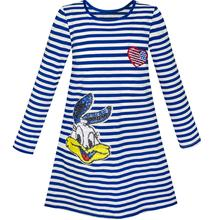 Sunny Fashion Girls Dress Long Sleeve Cotton Cartoon Sequins Blue Striped 2018 Summer Princess Wedding Party Dresses Size 4-10(China)