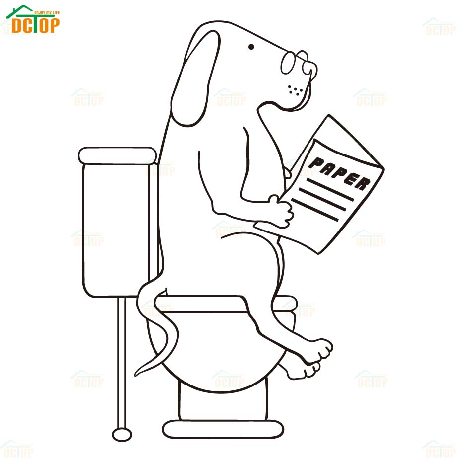 Cartoon Dogs Go To WC Wall Stickers Lovely Animal Vinyl Decals For Door Children Room Home Decor Bathroom PVC Wall Decals (2)