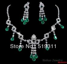 luxury Fashion Rhinestone Necklace & Earring Sets bridal necklace Green series wedding accessories rhinestone sets promotion