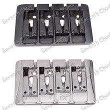 Vintage L Shape 4 String Saddle Electric Bass Bridge / Top Load or Strings through body . - Chrome - Black For choose